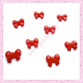 Lot de 10 cabochons en résine noeud rouge 1,5cm