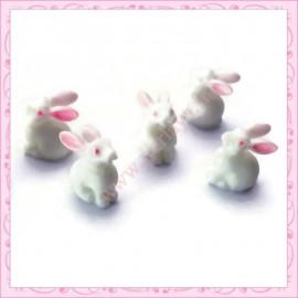 Lot de 3 cabochons lapin blanc en résine 1,5cm