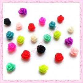 20 minis cabochons fleurs 8mm