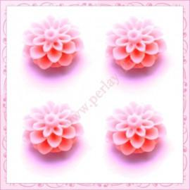 Lot de 10 cabochons en résine fleurs dahlia fleurs dahlia 16mm rose