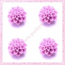 Lot de 10 cabochons en résine fleurs dahlia 16mm violet