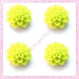 Lot de 10 cabochons en résine fleurs dahlia 16mm vert
