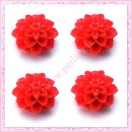 Lot de 10 cabochons en résine fleurs dahlia 16mm rouge