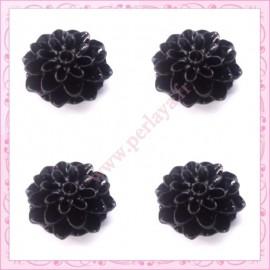 Lot de 10 cabochons en résine fleurs dahlia 16mm noir