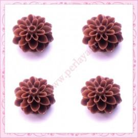 Lot de 10 cabochons en résine fleurs dahlia 16mm marron