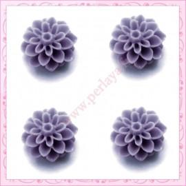Lot de 10 cabochons en résine fleur dalhia 16mm gris