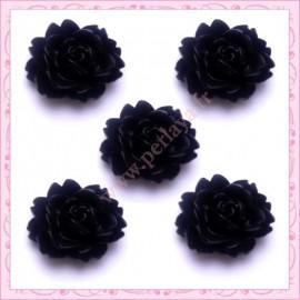 Lot de 10 cabochons en résine fleur 18mm noir 1,8cm