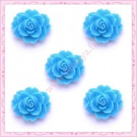Lot de 10 cabochons en résine fleur 18mm bleu 1,8cm