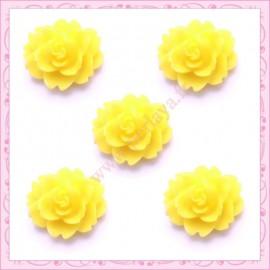 5 cabochons fleurs 18mm jaune