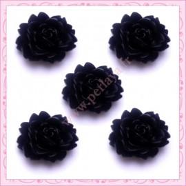 5 cabochons fleurs 18mm noir