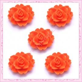 5 cabochons fleurs 18mm orange