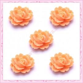 5 cabochons fleurs 18mm orange pêche