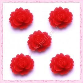 5 cabochons fleurs 18mm rouge
