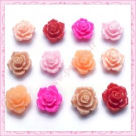 Mix de 12 cabochons fleurs 16mm