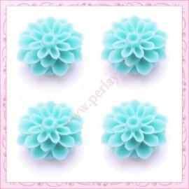 Lot de 10 cabochons en résine fleurs dahlia 16mm bleu