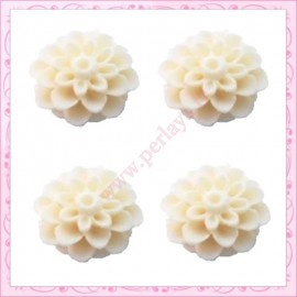 Lot de 10 cabochons en résine fleurs dahlia 16mm blanc