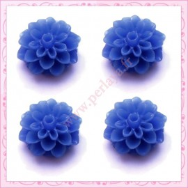 Lot de 10 cabochons en résine fleur dalhia 16mm bleu