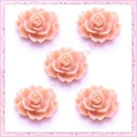 5 cabochons fleurs 18mm vieux rose