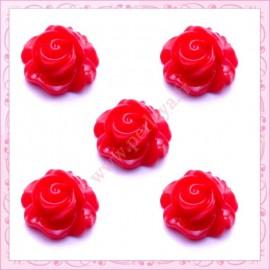 5 cabochons fleurs 16mm rouge