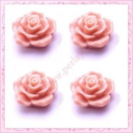 5 cabochons en forme de rose 16mm vieux rose
