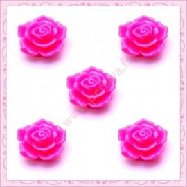 5 cabochons en forme de rose 16mm rose fushia