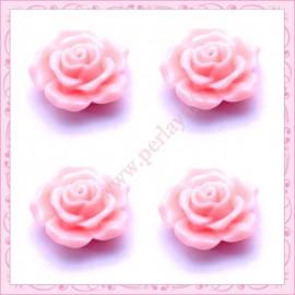 5 cabochons en forme de rose 16mm rose