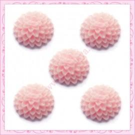 Lot de 10 cabochons 15mm fleur rose en résine