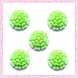 lot de 10 cabochons fleur 15mm vert