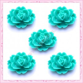 5 cabochons fleurs 18mm vert turquoise