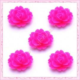 5 cabochons fleurs 18mm rose