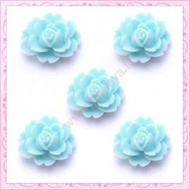 5 cabochons fleurs 18mm bleu