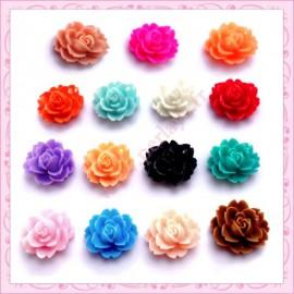 Mix de 15 cabochons fleurs 18mm