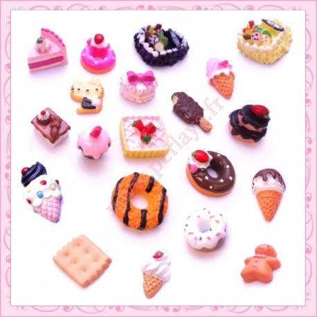 20 cabochons gourmands biscuit, glace, patisserie, donuts, cupcake.....