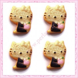 Lot de 3 cabochons biscuit chat en résine 1,8cm