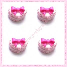 Lot de 3 cabochons biscuit rose en forme de cœur en résine 1,6cm