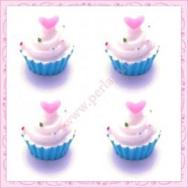 Lot de 3 cabochons en résine cupcake à la crème 1,6cm