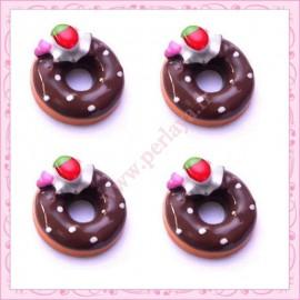 Lot de 3 cabochons en résine donuts au chocolat 11,8cm