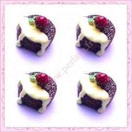 Lot de 3 cabochons en résine fondant au chocolat 1,6cm