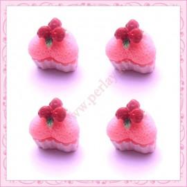 Lot de 3 cabochons en résine cupcake coeur rose 1,5cm