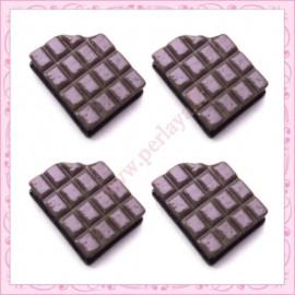 Lot de 3 cabochons en résine tablette de chocolat 1,7cm