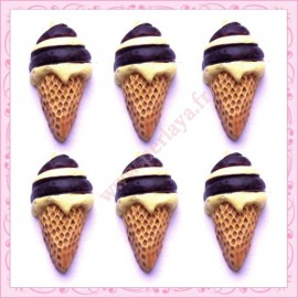 Lot de 3 cabochons glace vanille chocolat en résine 2,4cm