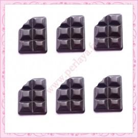 Lot de 3 cabochons tablette de chocolat en résine 1,6cm