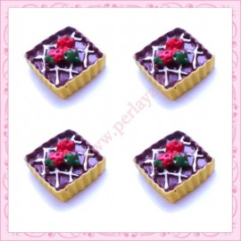 Lot de 3 cabochons tartelette au chocolat en résine 1,8cm