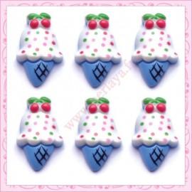 Lot de 5 cabochons en résine glace bleu 2,4cm
