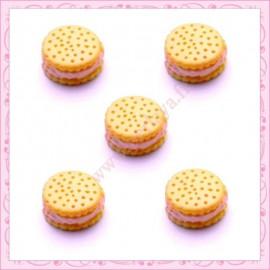 Lot de 3 cabochons en résine biscuit àla crème 1,3cm