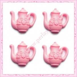 Lot de 3 cabochons théière rose en résine 2,3cm