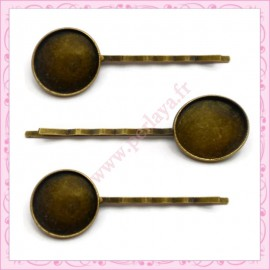 5 supports barrettes cheveux 18mm bronze