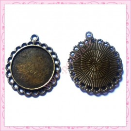 lot de 4 supports pendentif rond bronze de 20mm