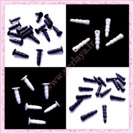 160 plugs anti-poussière noir et blanc en plastique