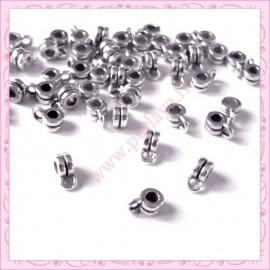 100 petites attaches breloques argentées en métal 6mm